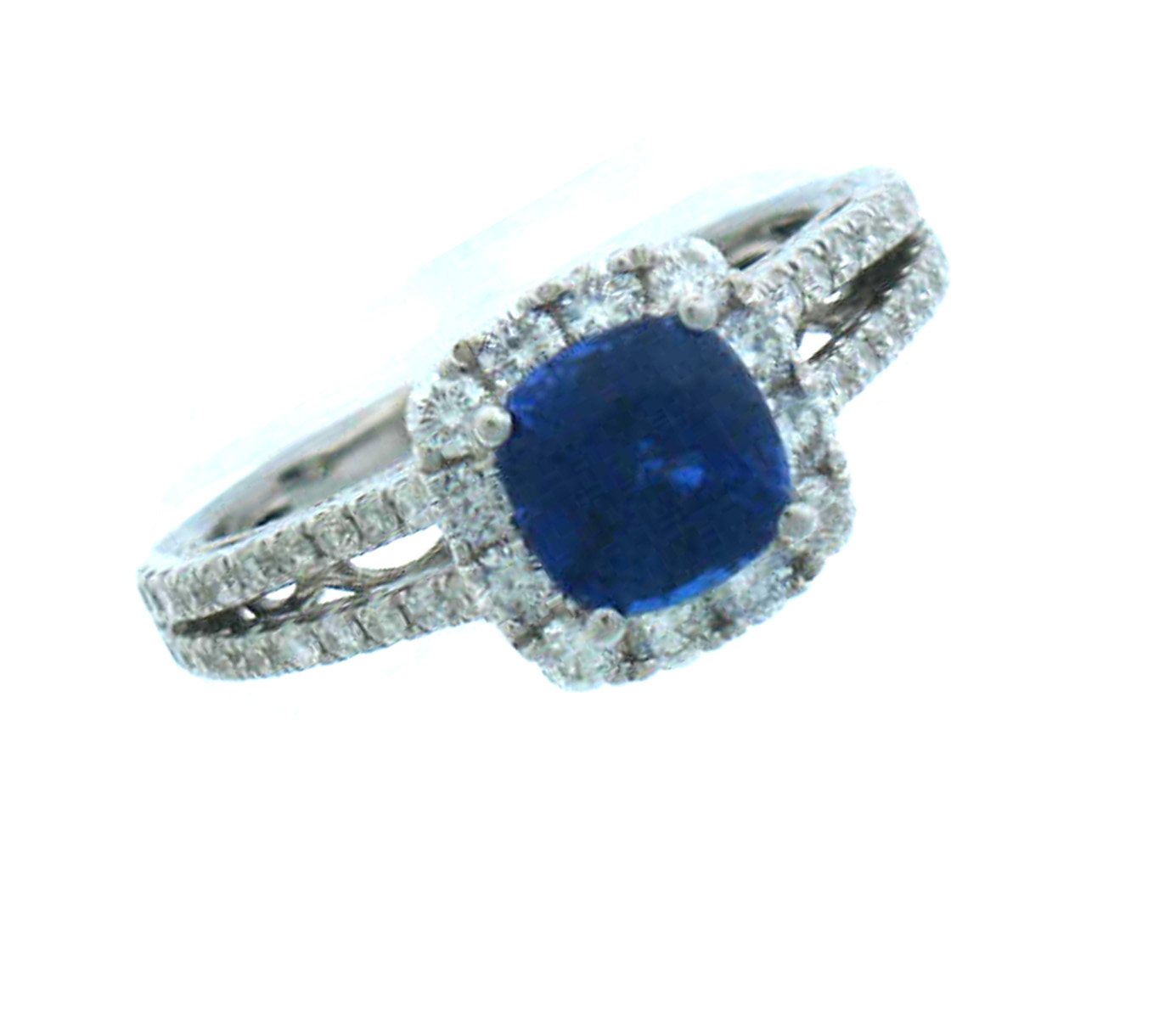 14k white gold sapphire and gemstone ring