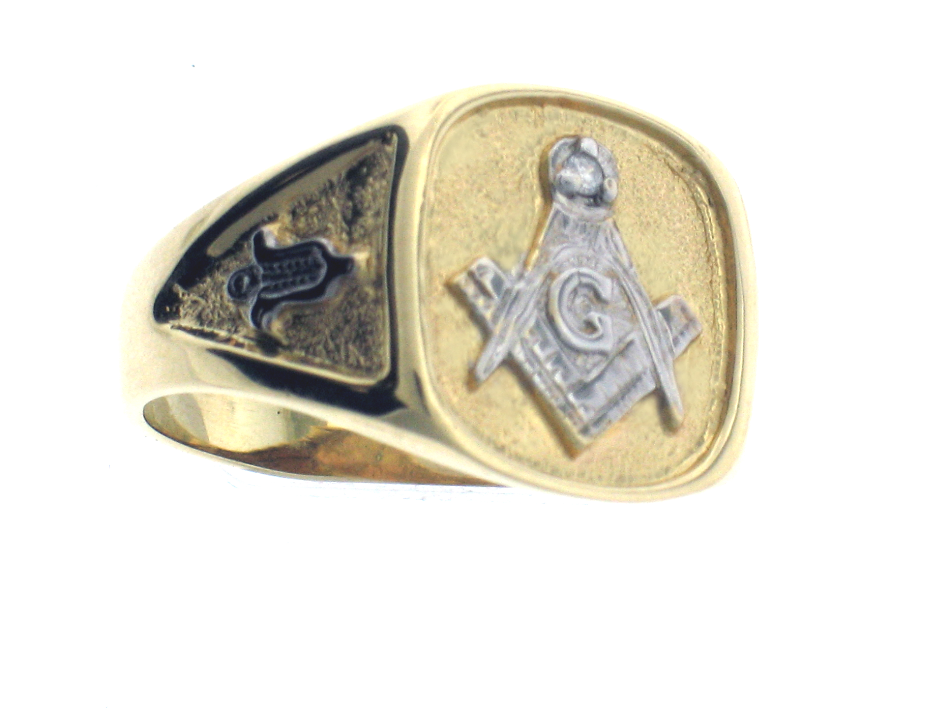 10karat white or yellow gold open back masonic ring click