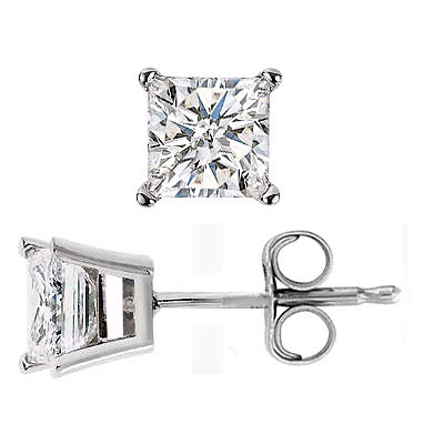 75ctw 14k White Gold Princess Cut Diamond Stud Earrings Si2 I1 G