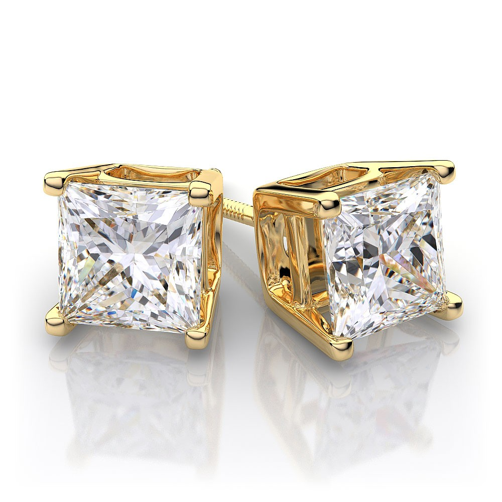 25ctw14k Yellow Gold Princess Cut Diamond Stud Earrings