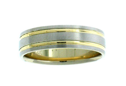 Brock Co Solid Gold Comfort Fit Matt Finish Wedding Band With Two