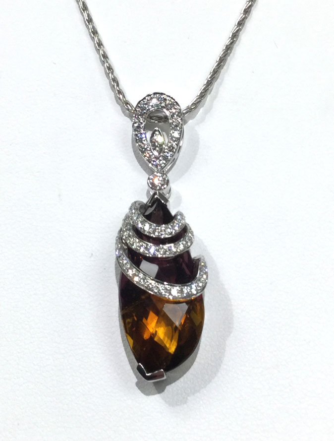 14 karat white gold ametrine and diamond pendant custom made aloadofball