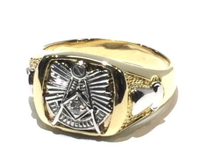 10 karat solid gold closed back past master masonic ring with